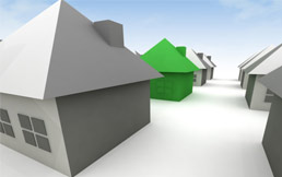 Grey and green home illustration