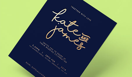 Wedding invites with gold foiling